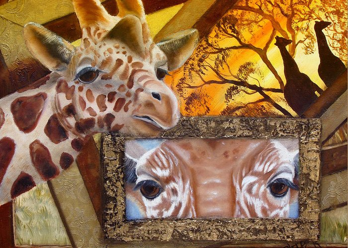 Giraffe Greeting Card featuring the painting Those Eyes   Giraffe Safari Series No 3 by Darlene Green