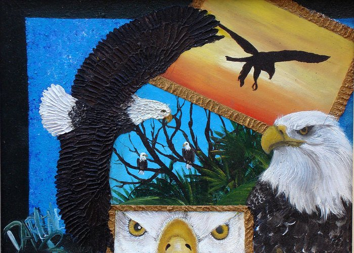 Eagle Greeting Card featuring the painting Those Eyes  Eagle by Darlene Green