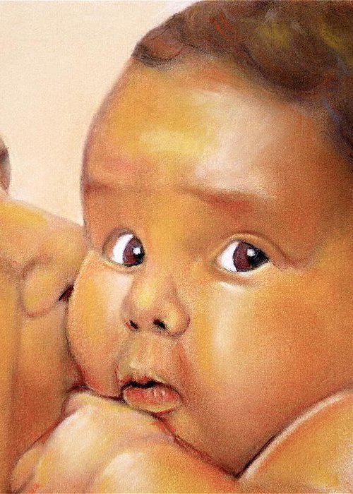 Those Eyes Greeting Card featuring the pastel Those Eyes by Curtis James