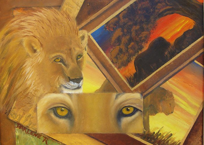 Lion Greeting Card featuring the painting Those Eyes Lion by Darlene Green