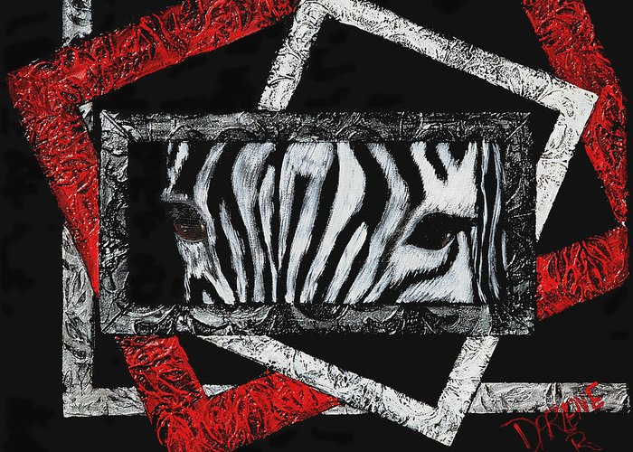 Abstract Greeting Card featuring the painting Those Eyes...zebra by Darlene Green