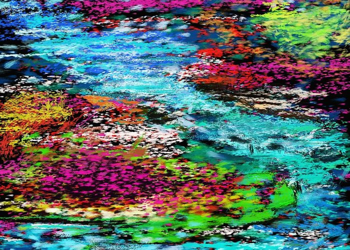 Abstract Greeting Card featuring the digital art Thought Upon A Stream by David Lane