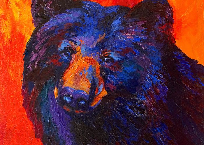 Bear Greeting Card featuring the painting Thoughtful - Black Bear by Marion Rose