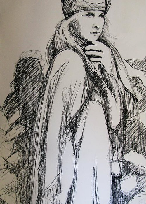 Girl Greeting Card featuring the drawing Thoughtful Moment by Michelle Winnie