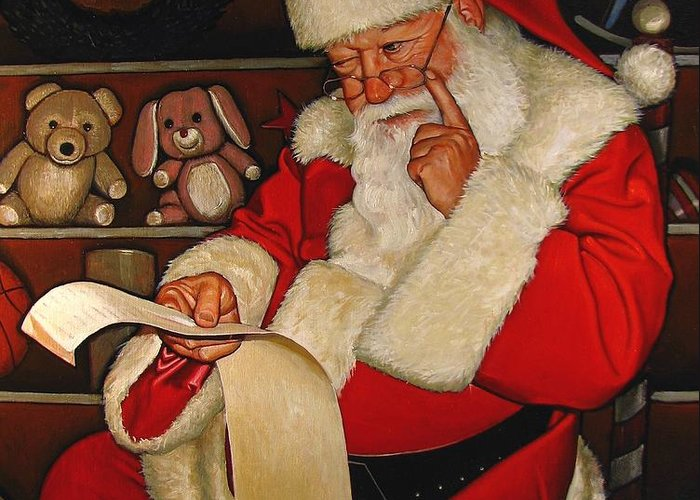 Doug Strickland Greeting Card featuring the painting Thoughtful Santa by Doug Strickland