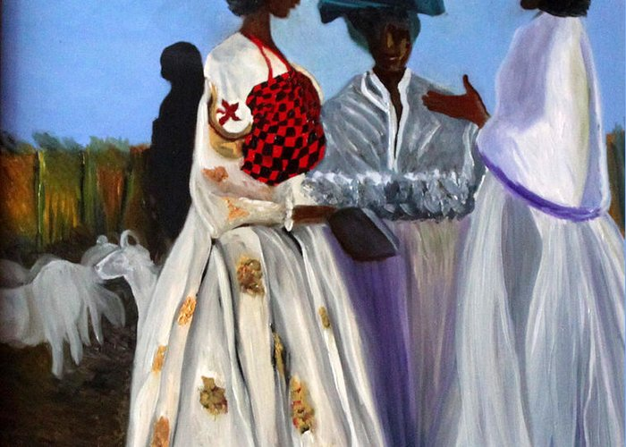 Greeting Card featuring the painting Three African Women by Pilar Martinez-Byrne