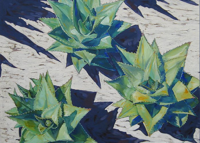 Botanical Greeting Card featuring the painting Three Aloe by Karen Doyle
