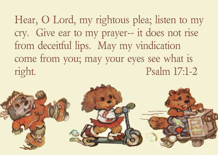 Scripture Greeting Card featuring the photograph Three Animal Characters Ps. 17 V 1-2 by Linda Phelps