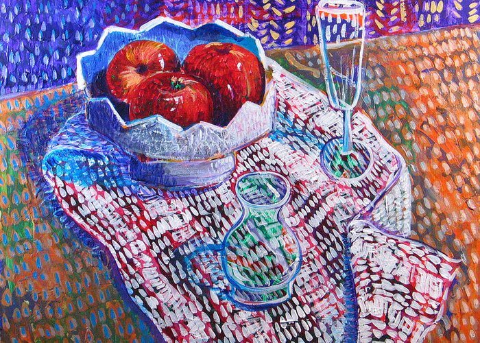 Still Life Greeting Card featuring the painting Three Apples by Rollin Kocsis