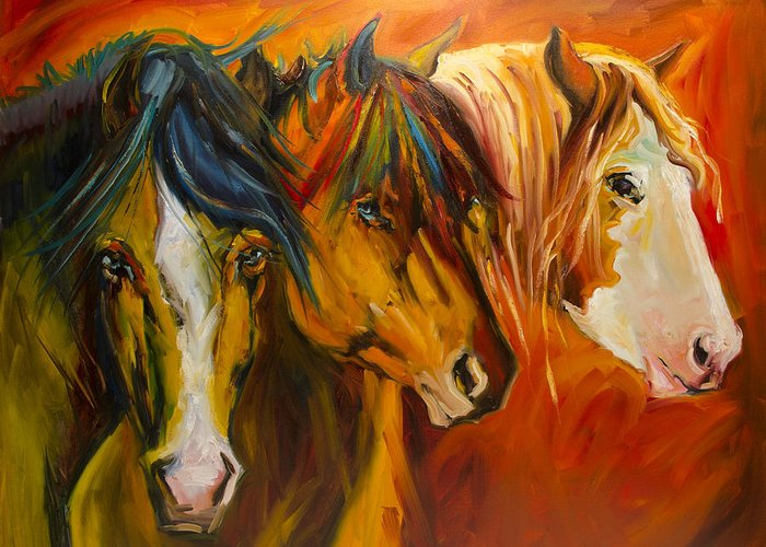 Horse Greeting Card featuring the painting Three at the Fence Line by Diane Whitehead