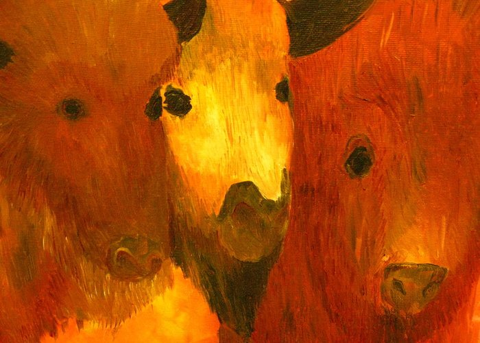 Alchemy Greeting Card featuring the painting Three Bison by Austen Brauker