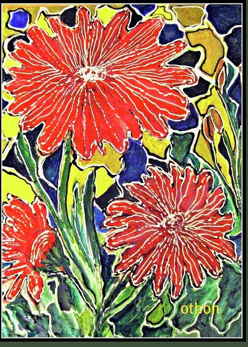 Floral Greeting Card featuring the painting Three Red Blooms by Kathy Othon