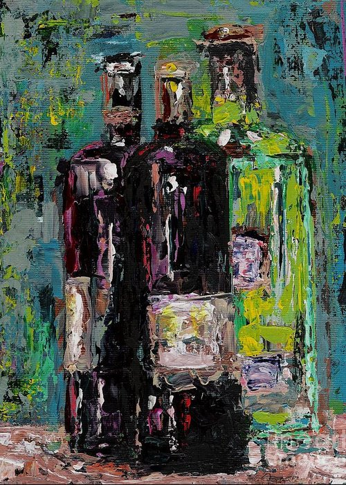 Wine Greeting Card featuring the painting Three Bottles Of Wine by Frances Marino