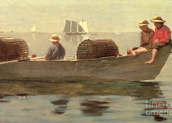 Boat Greeting Card featuring the painting Three Boys In A Dory by Winslow Homer