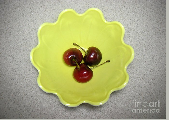 Nature Greeting Card featuring the photograph Three Cherries In A Bowl by Lucyna A M Green
