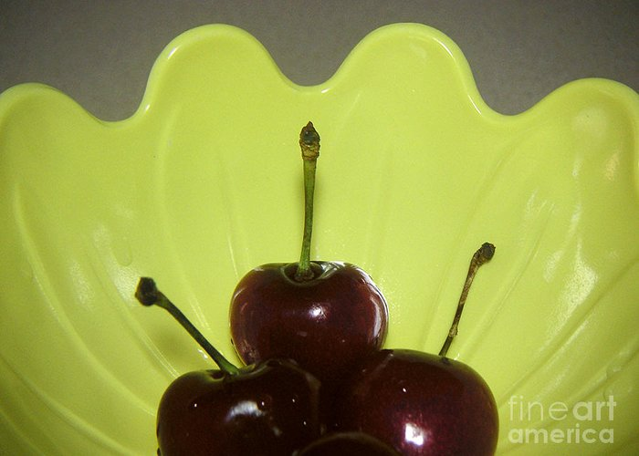Nature Greeting Card featuring the photograph Three Cherries In Profile by Lucyna A M Green
