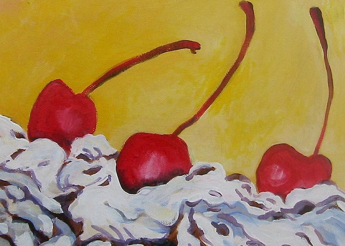 Desert Greeting Card featuring the painting Three Cherries by Tilly Strauss