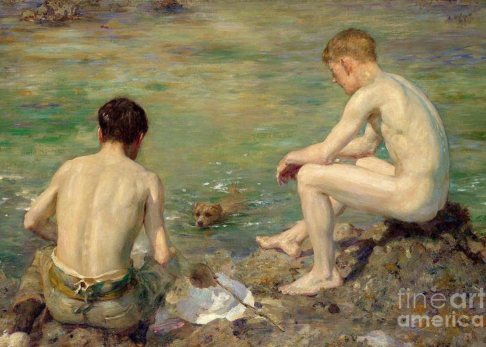 Bal13741 Greeting Card featuring the painting Three Companions by Henry Scott Tuke