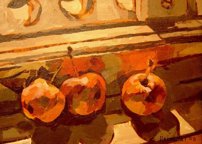 Canadian Art Greeting Card featuring the painting Three Crabapples On A Window Sill by Tim Heimdal