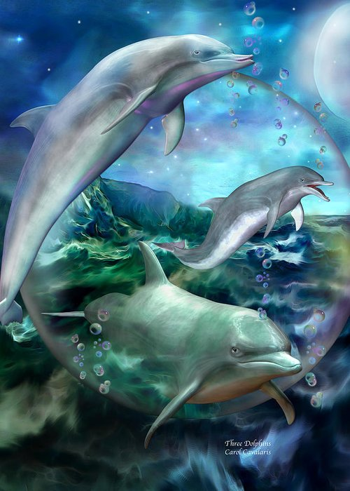 Dolphin Greeting Card featuring the mixed media Three Dolphins by Carol Cavalaris