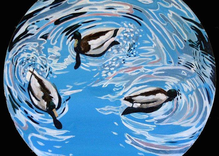 Ducks Greeting Card featuring the painting Three Ducks by Art Nomad Sandra Hansen