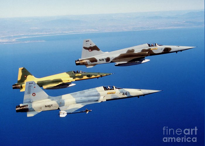 Military Greeting Card featuring the photograph Three F-5e Tiger II Fighter Aircraft by Dave Baranek