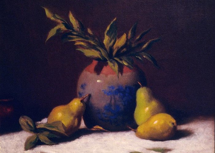 Still Life With Three Golden Pears And Vase Greeting Card featuring the painting Three Golden Pears With Vase by David Olander