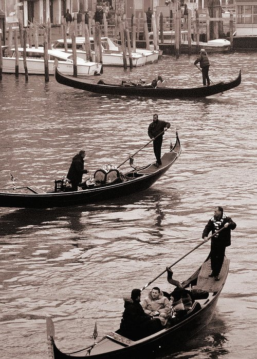 Venice Gondolas Greeting Card featuring the photograph Three Gondolas by L S Keely