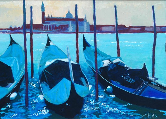 Venice Greeting Card featuring the painting Three Gondolas by Robert Bissett