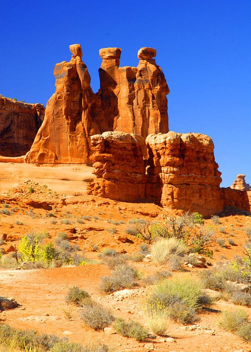 Arches Greeting Card featuring the photograph Three Gossips by Dennis Hammer