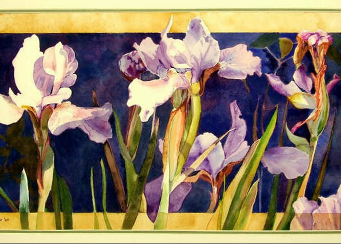 Irises Greeting Card featuring the painting Three Gossips by Linda Marie Carroll