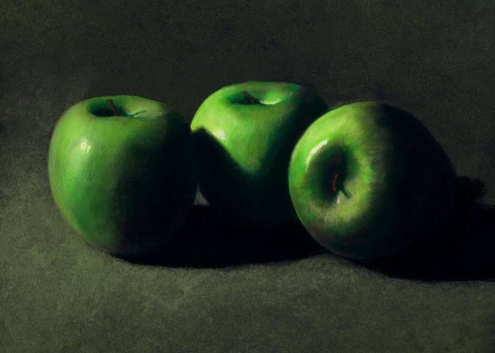 Still Life Greeting Card featuring the painting Three Green Apples by Frank Wilson