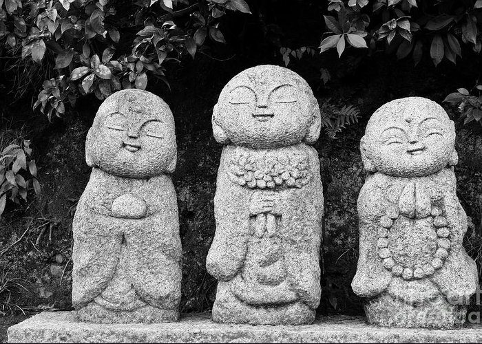 Buddha Greeting Card featuring the photograph Three Happy Buddhas by Dean Harte