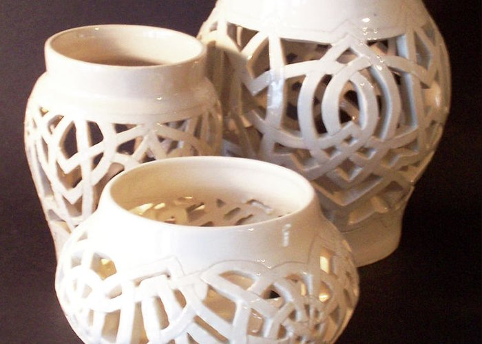 White Greeting Card featuring the ceramic art Three Interlaced Design Wheel Thrown Pots by Carolyn Coffey Wallace