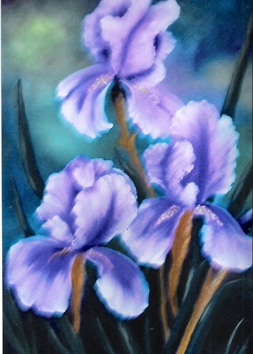 Nature Greeting Card featuring the painting Three Iris by Felix Turner