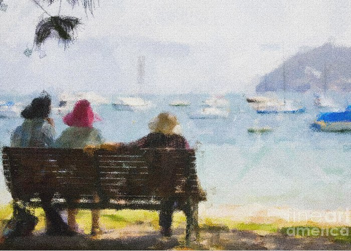 Impressionism Impressionist Water Boats Three Ladies Seat Greeting Card featuring the photograph Three Ladies by Sheila Smart Fine Art Photography