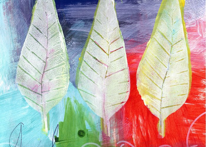 Abstract Greeting Card featuring the painting Three Leaves Of Good by Linda Woods