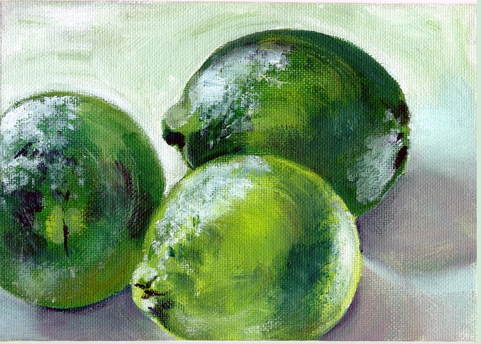 Food Greeting Card featuring the painting Three Limes by Sarah Lynch