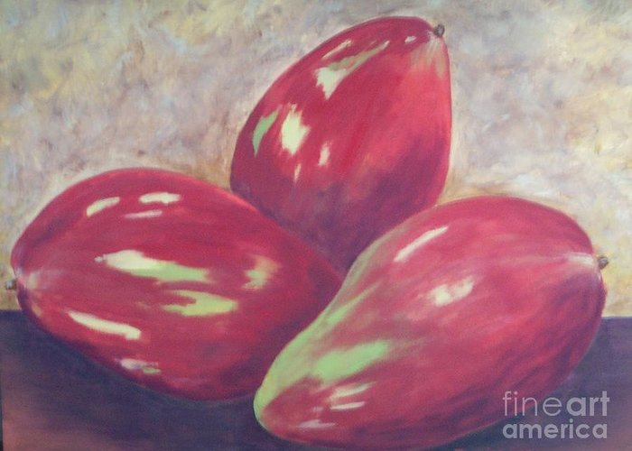 Mangos Greeting Card featuring the painting Three Mangos by Jeanie Watson
