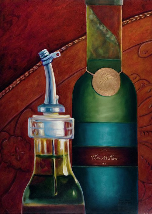 Olive Oil Greeting Card featuring the painting Three Million Net by Shannon Grissom
