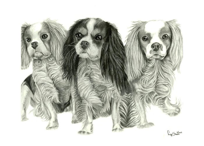 Puppies Greeting Card featuring the drawing Three Musketeers by Dawnstarstudios