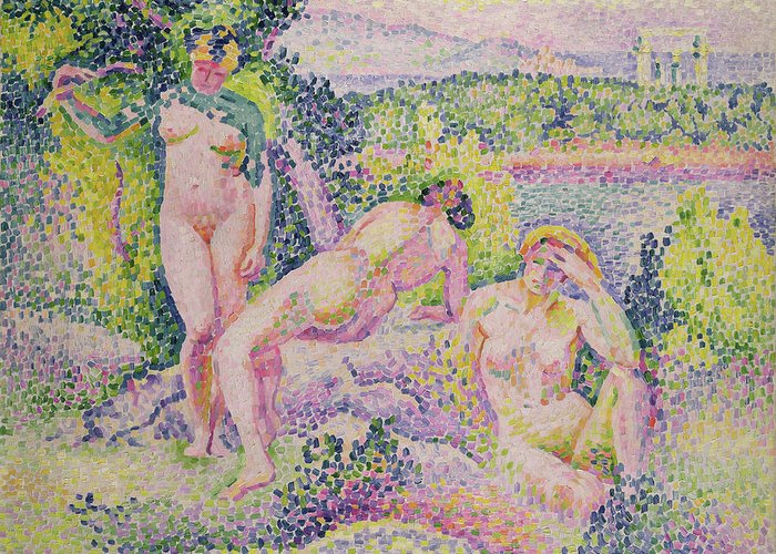 Three Greeting Card featuring the painting Three Nudes by Henri Edmond Cross