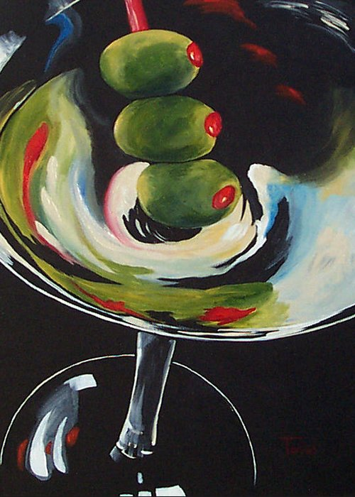 Martini Greeting Card featuring the painting Three Olive Martini IIi by Torrie Smiley