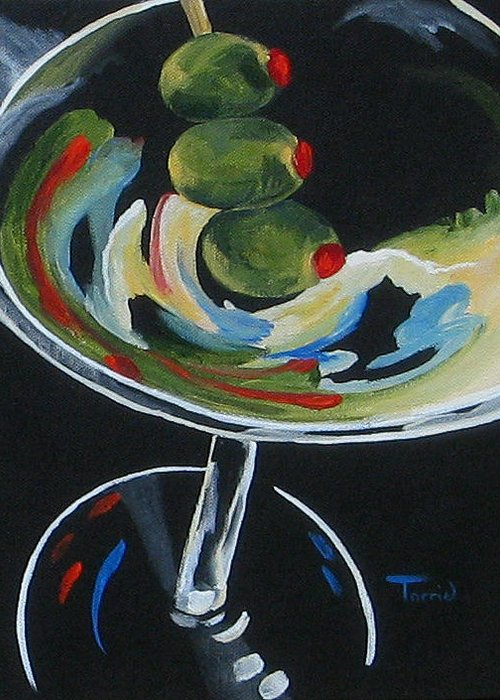 Martini Greeting Card featuring the painting Three Olive Martini V by Torrie Smiley