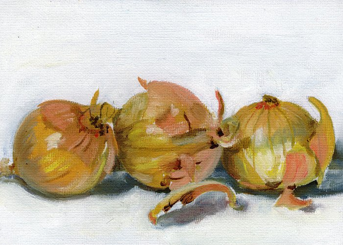 Food Greeting Card featuring the painting Three Onions by Sarah Lynch