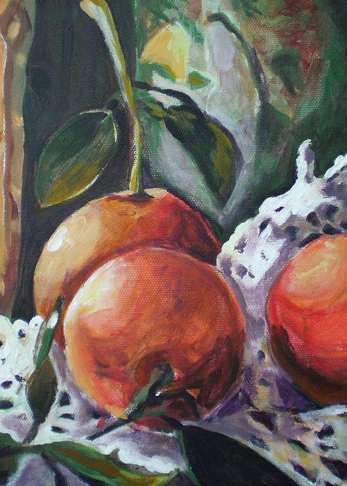 Still Life Greeting Card featuring the painting Three Oranges by Aleksandra Buha
