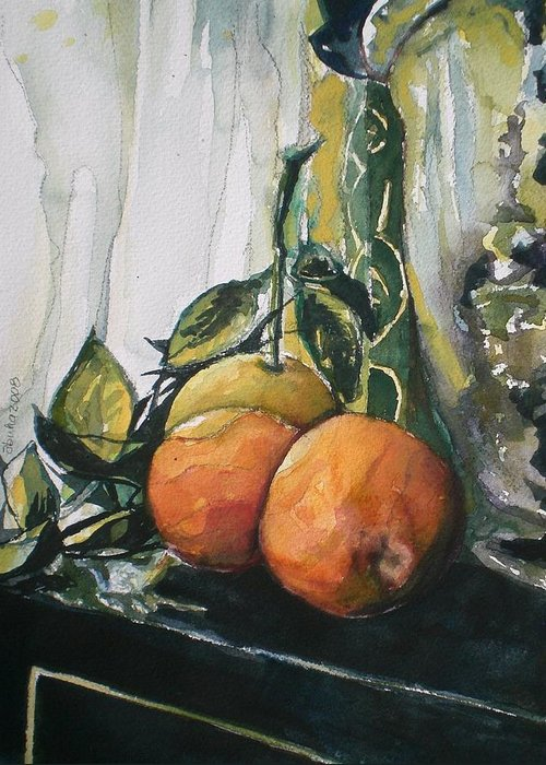 Ornages Greeting Card featuring the painting Three Oranges On Black by Aleksandra Buha