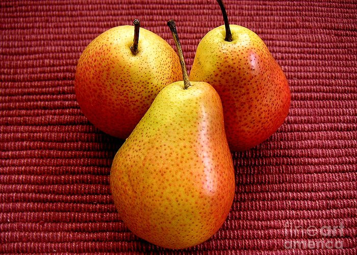 Nature Greeting Card featuring the photograph Three Pears by Lucyna A M Green