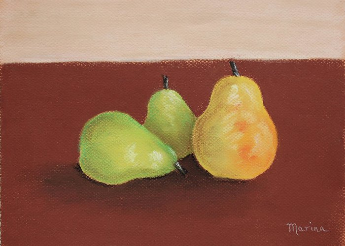 Pears Greeting Card featuring the painting Three Pears by Marina Garrison