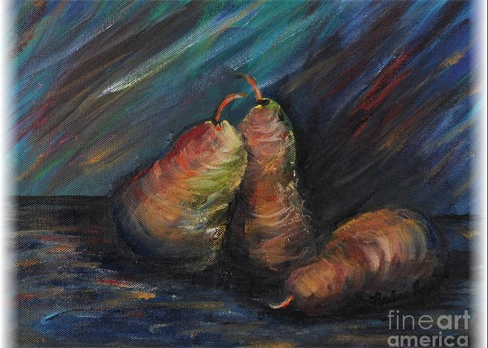 Pears Fruit Stilllife Blue Red Gold Orange Greeting Card featuring the painting Three Pears by Nadine Rippelmeyer